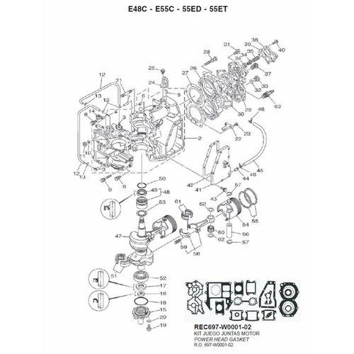 Yamaha 48/55/60 PS 2-Takt 2 Zyl. Motorblock- und Kurbelwellenteile