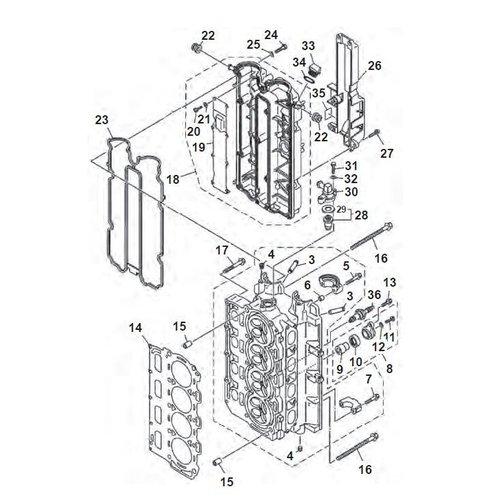 Yamaha F80 / F90 / F100 / F115 Zylinderkopfteile