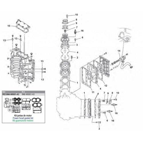 Yamaha 90/100/115/130/140 PS 2-Takt V4-Zyl. Blockteile
