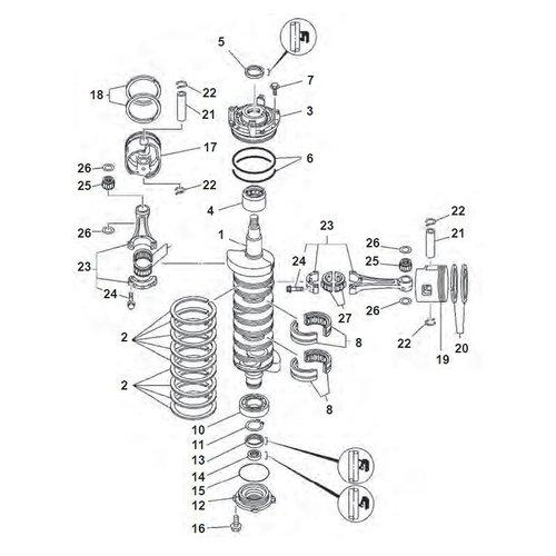 Yamaha 150/175/200/225 PS 2-Takt V6-Zyl. Kurbelwellenteile