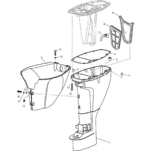 Yamaha / Parsun Außenborder F9.9, F13.5 & F15 Obere Gehäuseteile