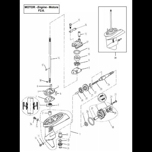 Yamaha / Parsun Außenborder F2.5 / F2.6 Unteres Gehäuse & Antrieb 1 Teile