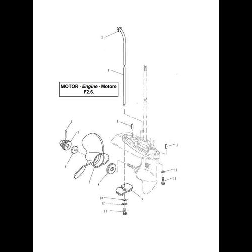 Yamaha / Parsun Außenborder F2.5 / F2.6 Unteres Gehäuse & Antrieb 2 Teile
