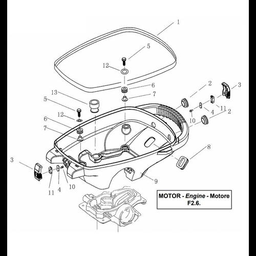 Yamaha / Parsun Außenbordmotor F2.5 / F2.6 untere Motorhaube Teile