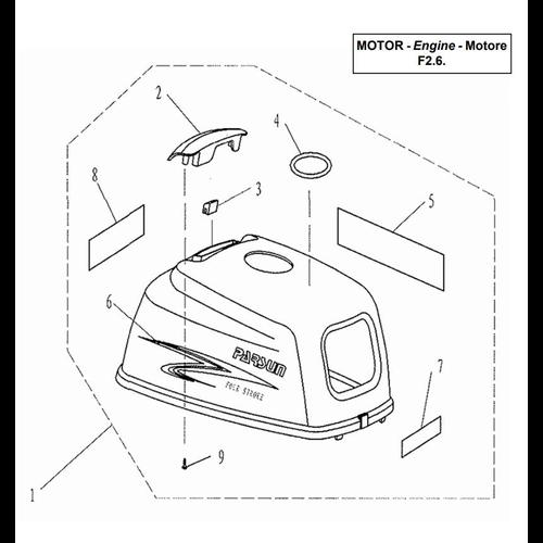 Yamaha / Parsun Außenborder F2.5 / F2.6 Motorhaube Teile