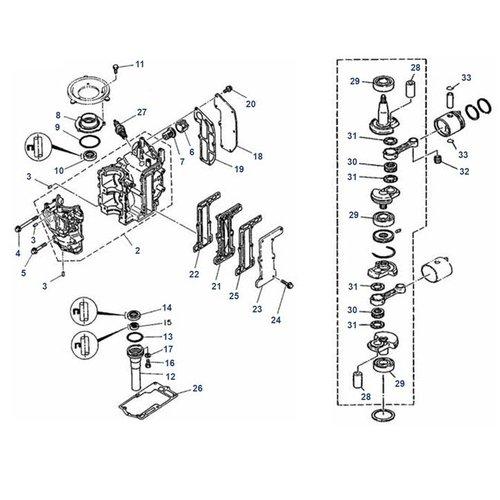 Mariner 6C / D, 8C (Yamaha-Modell) Kurbelwelle + Blockteile