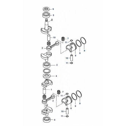 Mercury / Mariner / Tohatsu 6/8 / 9,8 PS 2-Takt Kurbelwellenteile