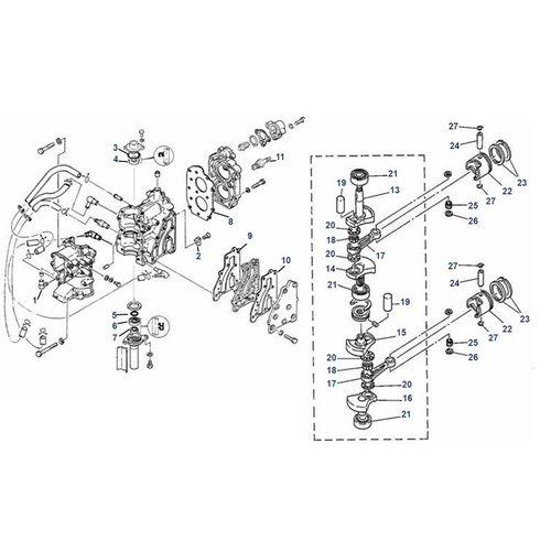 Mariner 8 PS (Yamaha Modell B) Kurbelwelle + Blockteile