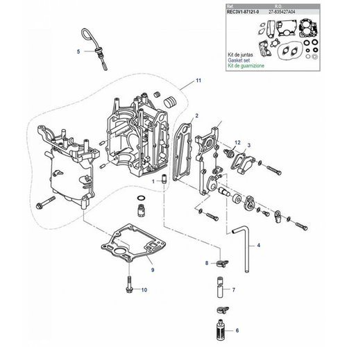 Mercury / Tohatsu / Parsun 8 / 9.8 / 9.9 PS 4T (209cc) Blockteile