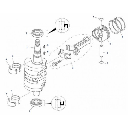 Mercury / Tohatsu / Parsun 8 / 9.8 / 9.9 PS 4T (209cc) Kurbelwellenteile