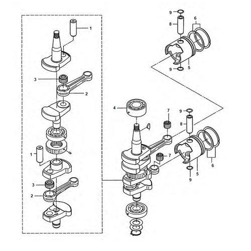Mercury / Mariner / Tohatsu 25 PS / 30 PS 2 Takt 2 Zylinder Kurbelwellenteile