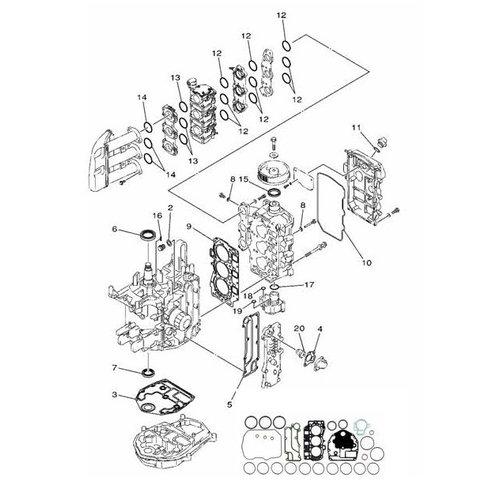 Mercury / Mariner / Yamaha Parsun 30/40 PS 4-Takt 3-Zylinder Block Teile