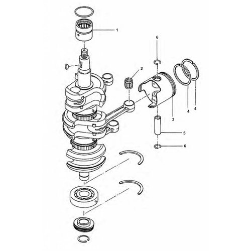 Mercury / Tohatsu 40/50 PS 2-Takt 3 Zylinder Kurbelwellenteile