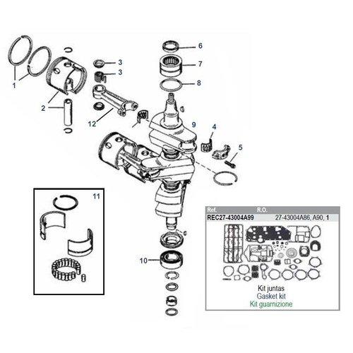 Mercury 70/75/80/90 PS 2-Takt 3-Zylinder Nr. 9506481 bis 9793576 + 65 JET Kurbelwellenteile