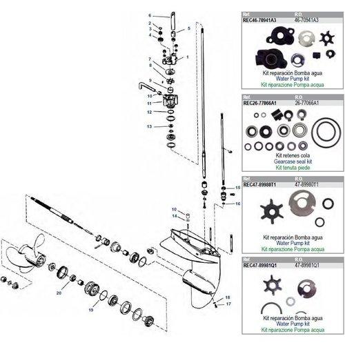 Mercury 3,9 / 4 / 4,5 / 5/6 / 7,5 / 9,8 PS (Typ 39/40/45/60/75/98/110) Unterwasserteile