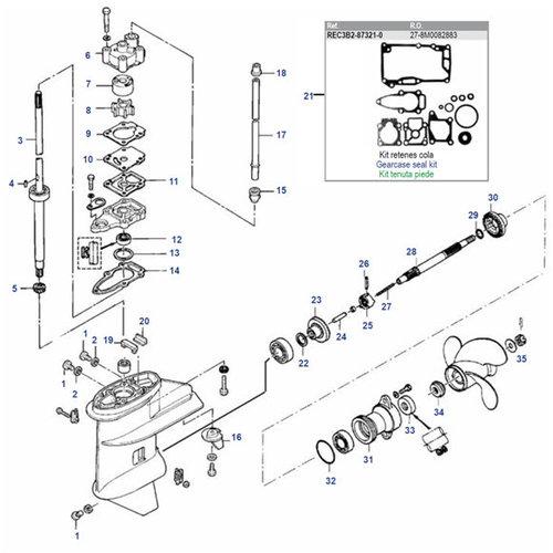 Mercury / Mariner / Tohatsu / Parsun 6/8 / 9,8 / 9,9 PS 4-Takt (209 cc) + 2-Takt 2-Zyl. (Inter) Unterwasserteile