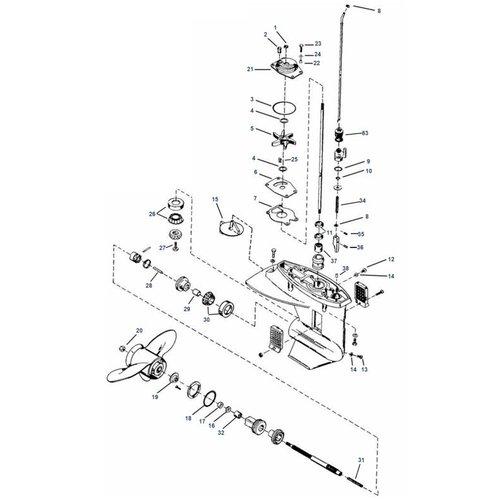 Mercury 8 / 9.9 / 13.5 / 15 PS 4-Takt 232cc (Inter) + 18XD / 20/25 PS 2-Takt Unterwasserteile