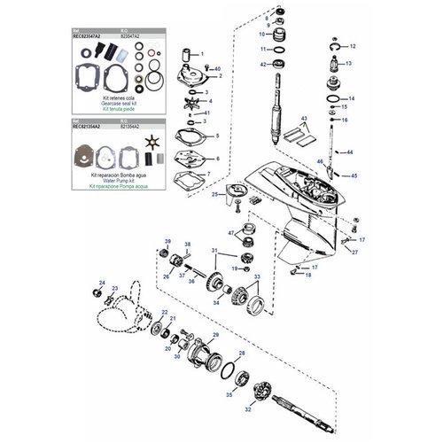 Mercury / Mariner 25/30/40/45/50 PS 4-Takt Vergaser / EFI +25 bis 50 PS 2-Takt (97-06) Mercury / Mariner 30 bis 70 PS 2-Takt (2/3/4 Zylinder) Unterwasserteile
