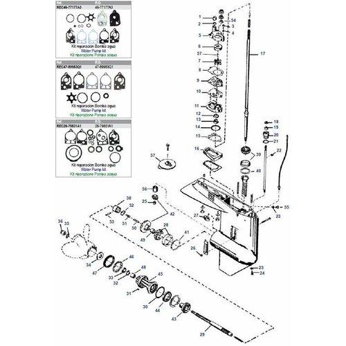 Mercury / Mariner 30 bis 70 PS 2-Takt (2/3/4 Zylinder) Unterwasserteile