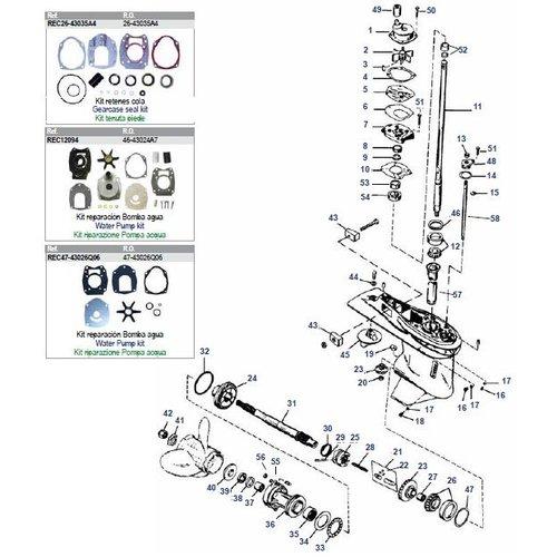 """Mercury / Mariner 30 bis 125 PS 2-Takt (3/4 Zyl Inline) + 50 bis 150 PS 4-Takt (4,25 """"/ 107,95 mm) Unterwasserteile"""