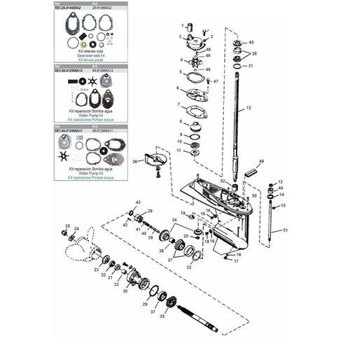 Mercury / Mariner 50/55/60 PS 3-Zylinder 2-Takt + 40/50/60 PS 4-Takt 4-Zylinder EFI + 40 4-Takt Vergaser 3-Zylinder Unterwasserteile