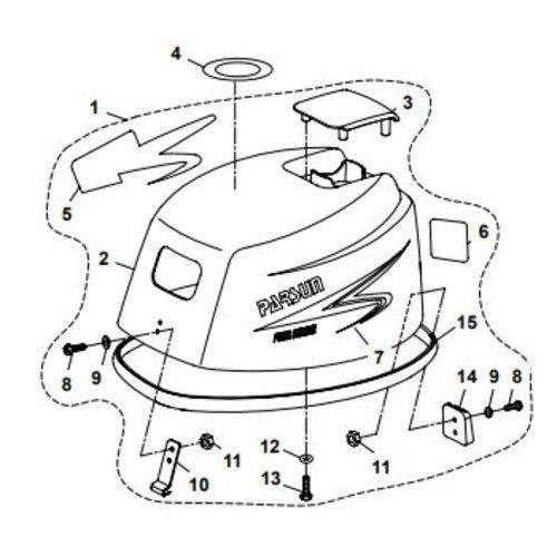 Parsun Außenborder F20A (F15A) BM (FW) Top Cowling Assy Teile