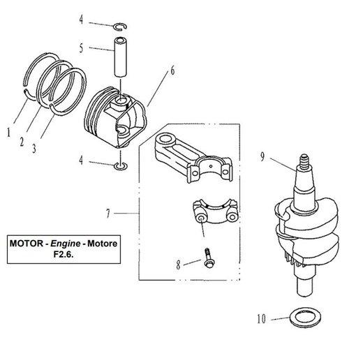 Parsun Außenborder F2.6 Kurbelwellen- und Kolbenteile