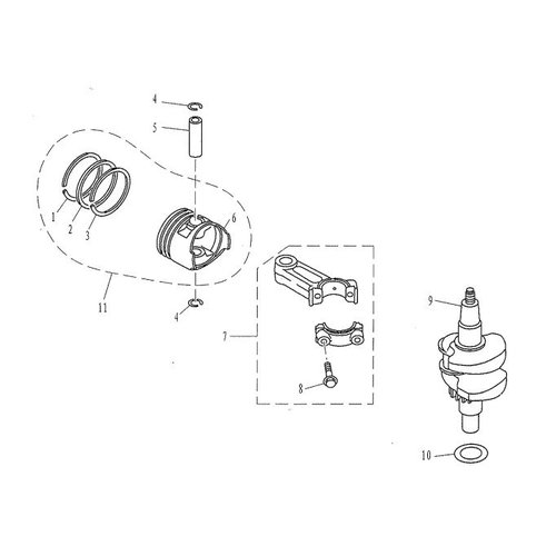 Parsun Außenborder F4 & F5 Kurbelwelle & Kolbenteile