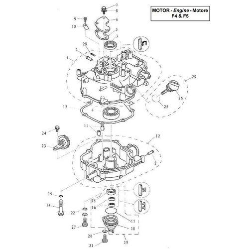 Parsun Außenborder F4 & F5 Zylinder & Kurbelgehäuse 2 Teile