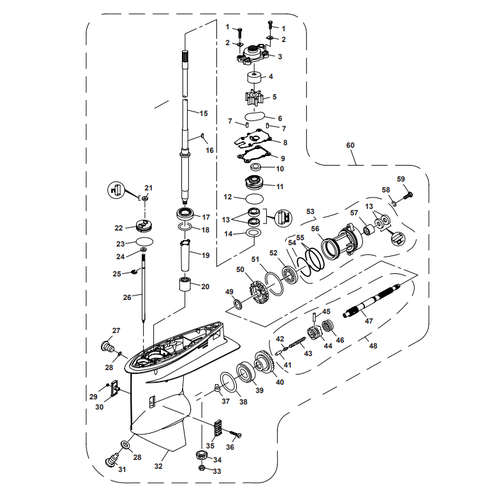 Parsun Außenborder F50 & F60 Unteres Gehäuse & Antrieb 1 Teile