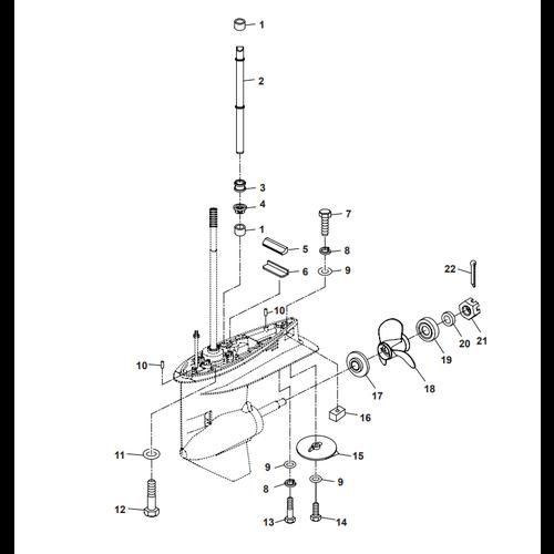 Parsun Außenborder F50 & F60 Unteres Gehäuse & Antrieb 2 Teile