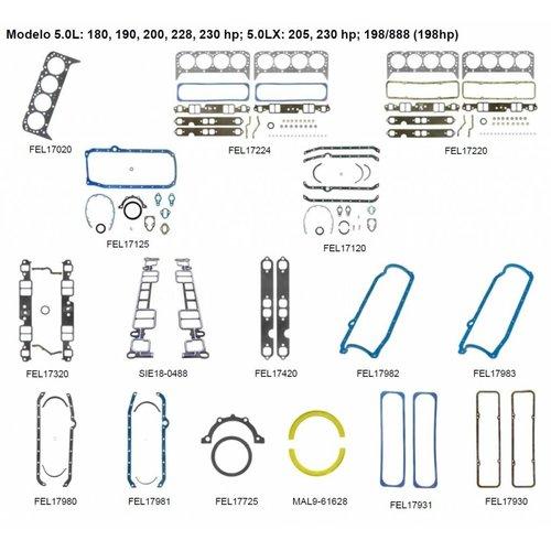 Mercruiser 8 Zylinder Motordichtungen 5,0 l: 180, 190, 200, 228, 230 PS; 5,0LX: 205, 230 PS; 198/888 (198 PS)