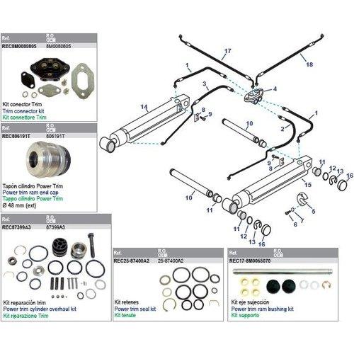 Mercruiser Power Trim Arms & Power Steering Hoses Modelle Alpha One Gen II