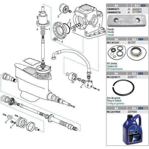 Volvo Penta IPS-A, B, C, D, E, F Getriebekomponenten
