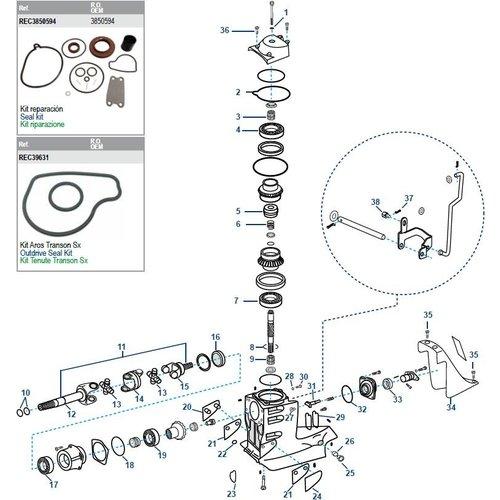 Volvo Penta SX Antriebswellengehäuse Komponenten