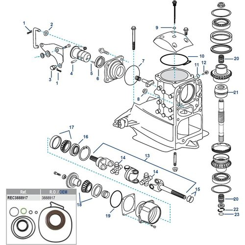 Volvo Penta SX-A, FWD, DPS-A, DPS-B Obere Gehäusekomponenten