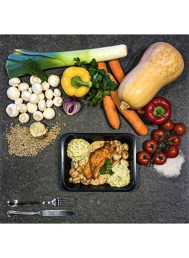 Schitzel met champignonsaus, preipuree en champignons