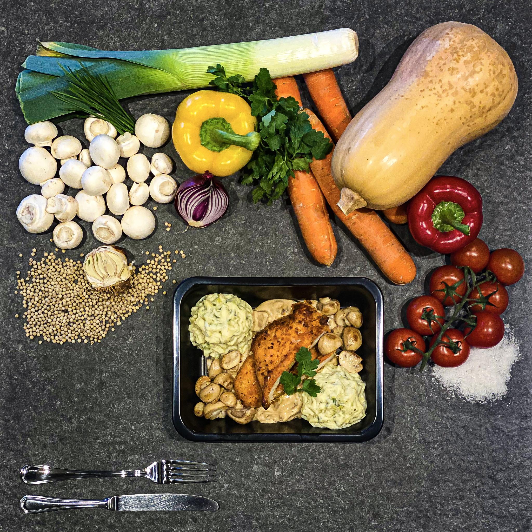 Schitzel met champignonsaus, preipuree en champignons-1