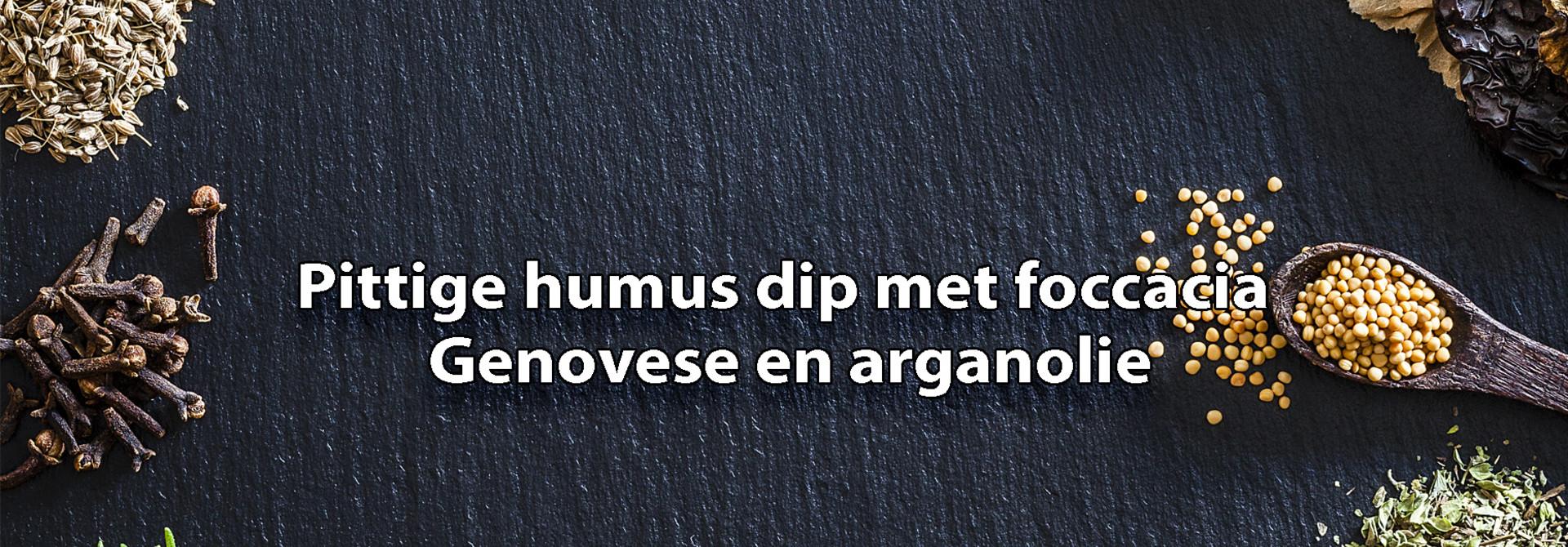 Pittige hummus dip met foccacia en arganolie