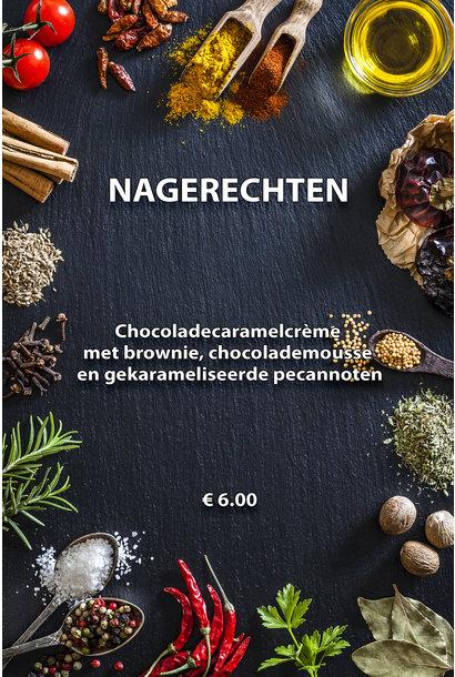 CHOCOLADECARAMELCREME MET CHOCOLADEMOUSSE EN BROWNIE