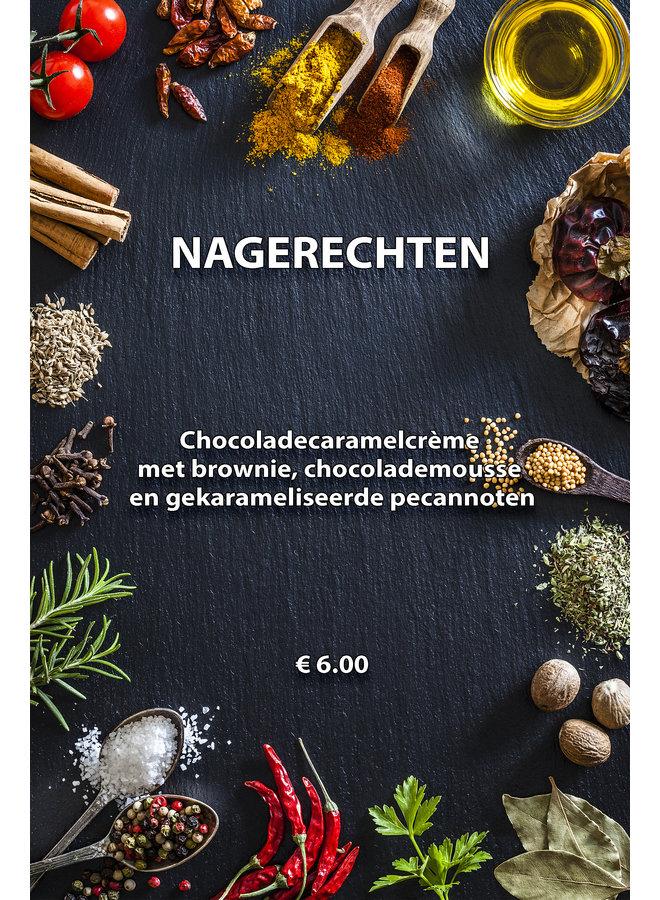 Chocoladecaramelcrème met chocolademousse en brownie