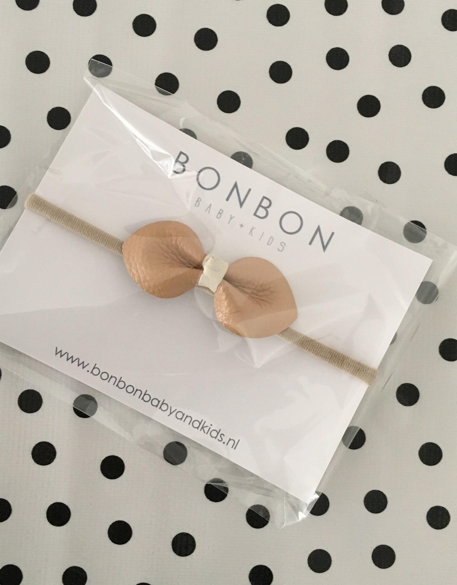 bonbon Bon bon haarband met strik leer beige en ecru