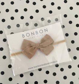 bonbon Bon bon haarband met strik linnen beige