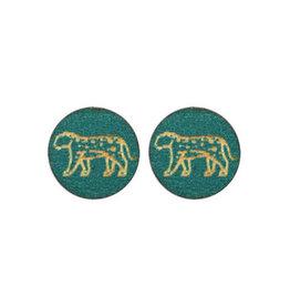 made by ellen Made by ellen 049 stekers hout luipaard donker turquoise