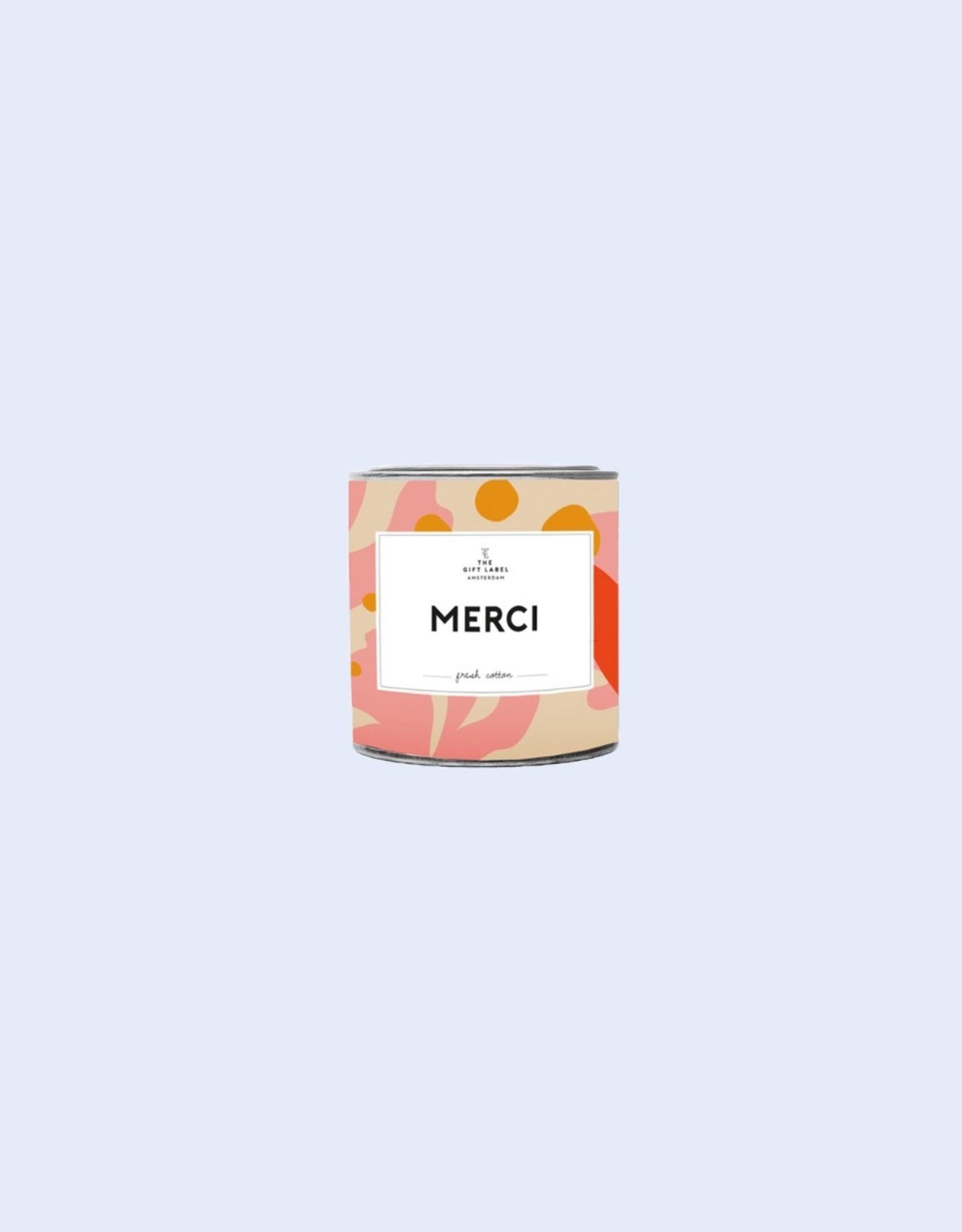 the gift label the gift label geurkaars klein Merci (jasmine vanilla)