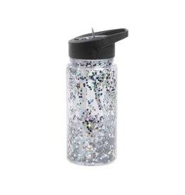 A little lovely company ALLC: Drinkfles glitter zwart/zilver