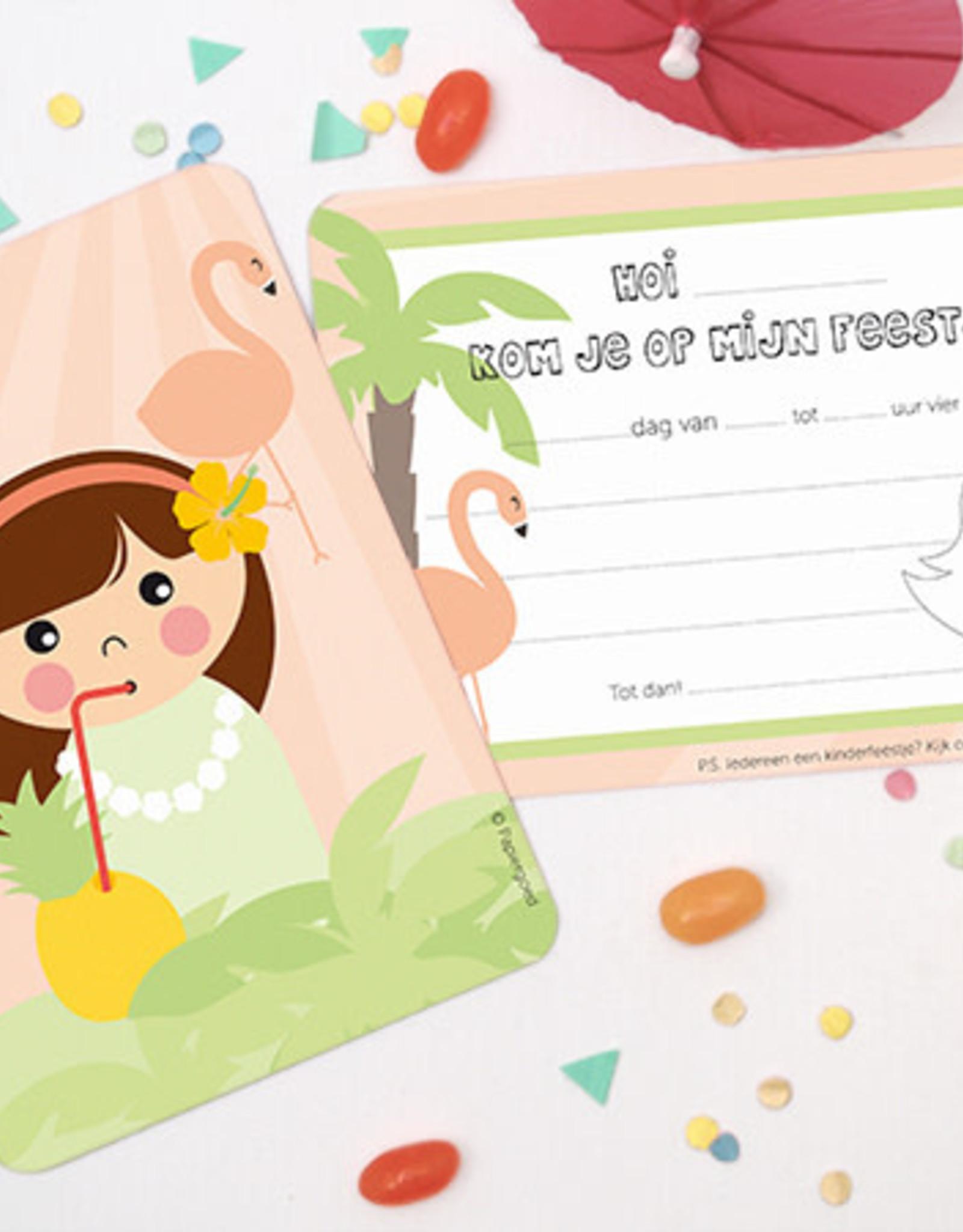 Papiergoed Papiergoed Uitnodiging Kinderfeestje Hawaï per 6