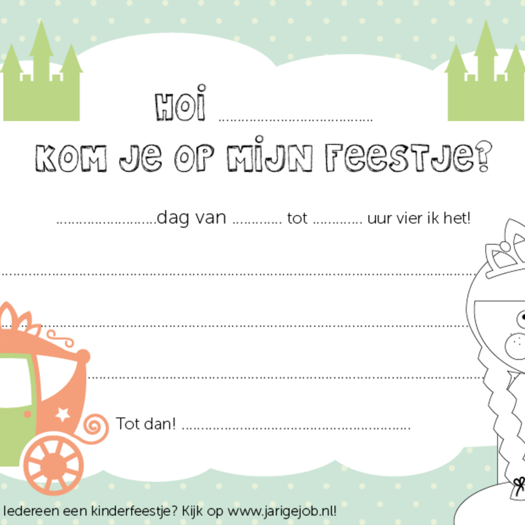 Papiergoed Papiergoed Uitnodiging Kinderfeestje Prinses per 6