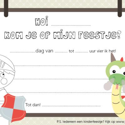 Papiergoed Papiergoed Uitnodiging Kinderfeestje Ridder per 6