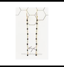 made by ellen Made by ellen 069 oorbellen hangers goud/zwart kettinkje